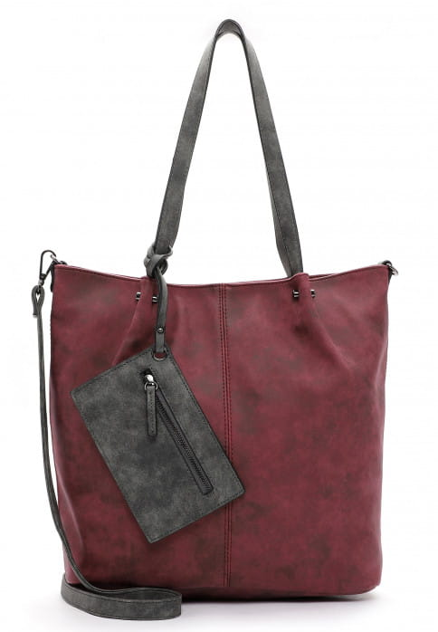 EMILY & NOAH Shopper Bag in Bag Surprise Rot 300698 bordo/grey 698